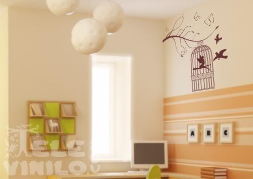 Vinilos decorativos infantiles jaula en rama comprar en for Vinilos por internet