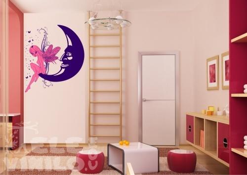 Vinilos decorativos juveniles hada de la luna 2 colores - Decoracion de paredes de dormitorios juveniles ...
