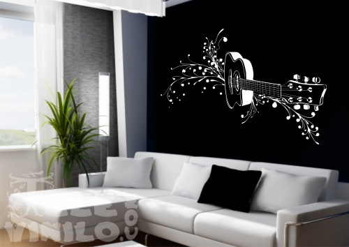 Vinilos decorativos musicales guitarra adornada comprar for Vinilo decorativo musical pared