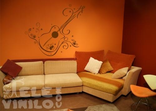 Vinilos decorativos musicales guitarra ornamental - Vinilos decorativos musicales ...