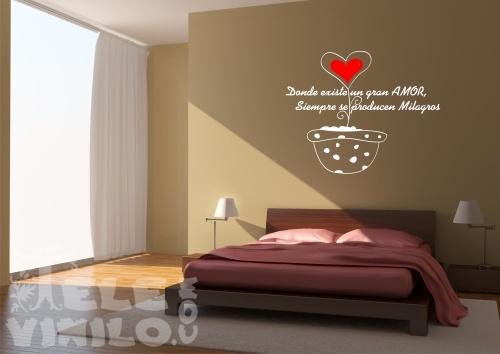 Vinilos decorativos adhesivos frase el milagro del amor - Frases para paredes habitaciones ...