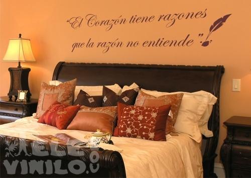 Vinilos decorativos adhesivos frase el coraz n for Vinilos pared blancos