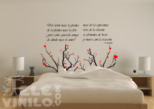 Vinilos decorativos cabeceros ramas de rbol con corazones for Vinilos para cabeceros juveniles