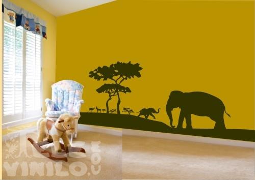 Vinilos Decorativos Infantiles Elefantes En La Selva