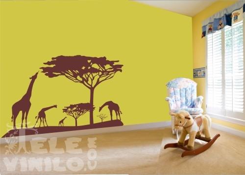 Vinilos decorativos infantiles jirafas en la selva for Pegatinas infantiles para muebles
