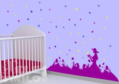 Vinilos decorativos infantiles ni a con mariposas for Vinilos infantiles nina