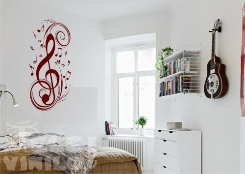 Vinilos decorativos adhesivos musicales clave de sol for Vinilos de pared juveniles
