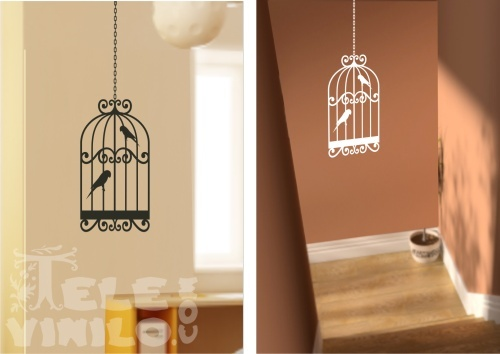 Vinilos decorativos de pared jaulas de pajaros comprar - Vinilo para la pared ...