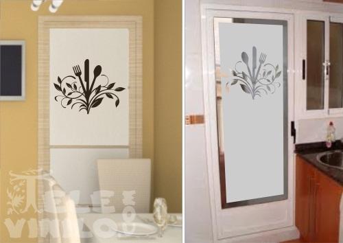 Vinilos adhesivos decorativos cocina cubiertos florales for Vidrios decorados para puertas interiores