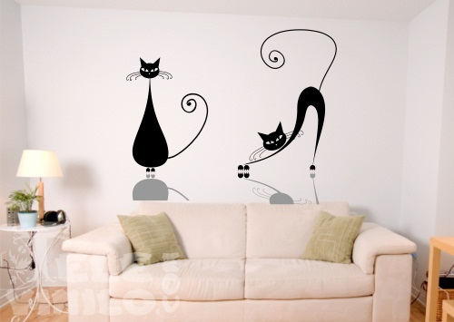 Vinilos adhesivos decorativos gatos comprar en tienda for Vinilos adhesivos para paredes de banos