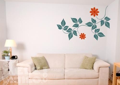 Vinilos decorativos adhesivos floral hojas ornamentales for Vinilos por internet
