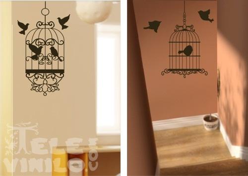 Vinilos decorativos de pared jaulas de pajaros comprar en tienda online venta por internet - Vinilos para las paredes ...