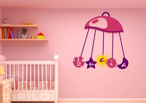 Vinilos decorativos infantiles nombre para bebe comprar for Pegatinas pared nina