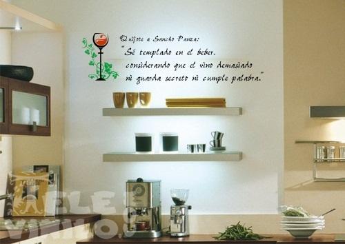 Vinilos decorativos adhesivos cocina frase quijote - Papel de vinilo para cocinas ...