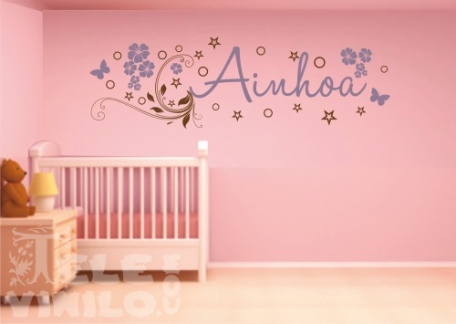 Vinilos adhesivos decorativos nombres infantiles ni as for Vinilos para pared habitacion nina
