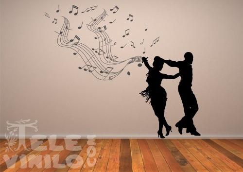 Vinilos adhesivos musicales bailando pentagrama comprar for Vinilos decorativos pared musicales